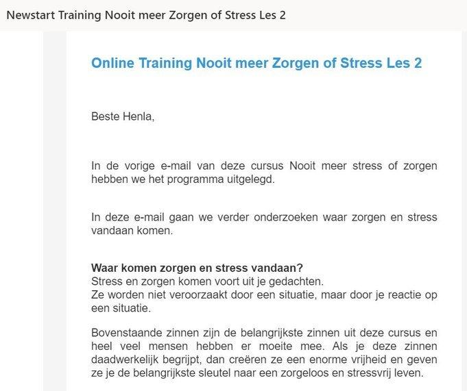 e cursus nooit meer zorgen of stress les 2