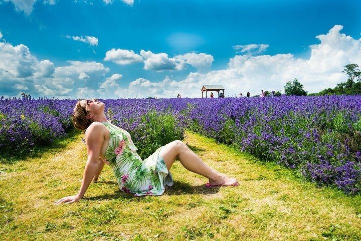 vrouw zon lavendelgeld genieten