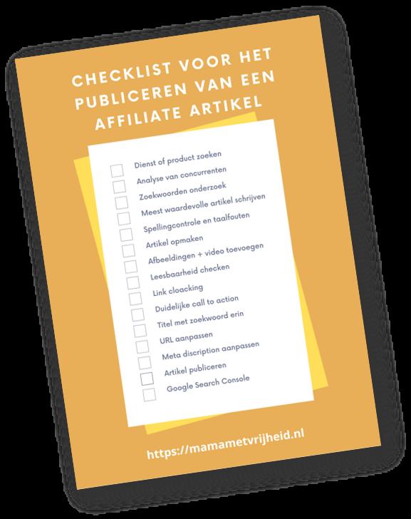 checklist voor het publiceren van een affiliate artikel