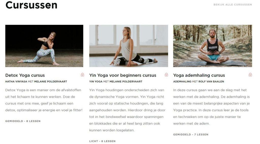 yoga cursussen