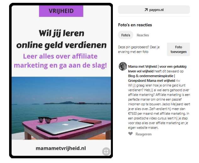 Geld verdienen met Pinterest met affiliate marketing